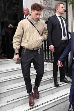 Brooklyn Beckham Knows the Value of Having a Favorite Jacket is part of Fashion - Here's to the Harrington Brooklyn Beckham took his favorite tan Burberry jacket out for two spins this week Cool Outfits For Men, Stylish Mens Outfits, Casual Outfits, Estilo Dope, Brooklyn Beckham, La Mode Masculine, Herren Outfit, Burberry Jacket, Men Looks