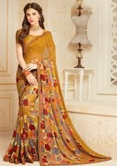 Light Brown Color Georgette Party Wear Sarees : Mankit Collection YF-64648 Floral Print Sarees, Printed Sarees, Floral Prints, Green Saree, Georgette Fabric, Chiffon Saree, Party Wear Sarees, Indian Ethnic Wear, Beige Color