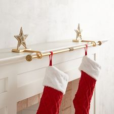 Golden Beaded Star Stocking Holder Rod Set Stocking Holders Stocking Holders For Mantle Unique Christmas Decorations