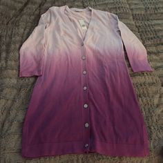 Isaac Mizrahi Cardigan Lovely NWT purple/pink dip dye ombré long button down boyfriend cardigan. Tag says XXS but it's oversized so could fit up to a small medium. Isaac Mizrahi Sweaters Cardigans