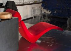 David Ling Architect, Live/Work sudio in New York, Reclining Nude red chaise longue| Remodelista
