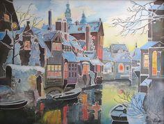 Bruges sous la neige. Paysage de Bruges, réalisé sur soie naturelle, Ekaterina Potatueva