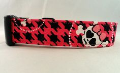 This collar is SPUNKY! Bright Pink Houndstooth Skulls and Cross Bones Dog Collar!