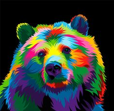 Multi Colored Bear 13 Colorful Animal Vector Illustration on Behance Colorful Animal Paintings, Colorful Animals, Pop Art, Arte Bob Marley, Ciel Pastel, Lion Painting, Bear Art, Arte Pop, Wildlife Art