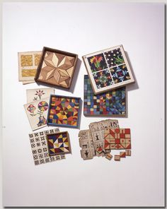 Mosaic design toys, American, English, and German, 1850-1900. Norman Brosterman kindergarten collection.