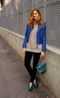cobalt blue leather jacket with casual outfit