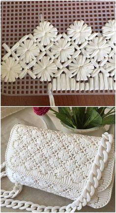 Diy Crochet Bag, Crochet Bag Tutorials, Crochet Basket Pattern, Plastic Canvas Stitches, Plastic Canvas Crafts, Plastic Canvas Patterns, Diy Bags Purses, Diy Purse, Diy Handbag