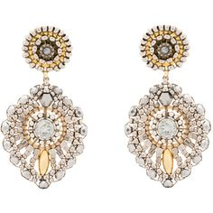 Miguel Ases Beaded Grey And Silver Drop Earrings ($175) ❤ liked on Polyvore featuring jewelry, earrings, silver, gold filled jewelry, silver jewellery, 14 karat gold earrings, swarovski crystal jewelry and swarovski crystal drop earrings
