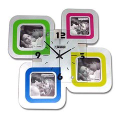 Modern Wall Clock with Picture Frame 15 Wall Clock With Pictures, Wall Clock Online, Clock Decor, Modern Wall, Picture Frames, Creative Things, Clocks, Portrait Frames