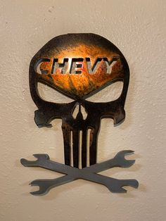 Excited to share this item from my shop: Punisher Chevy Mechanic Plasma cut Art Punisher Skull, Scrap Material, Plasma Cutting, Yard Art, American Made, Metal Art, Color Change, Chevy, Folk Art
