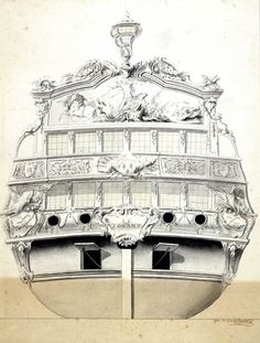 Sketch of Carvings for Le Tonnant, Boumet (France), 1746, pen and ink