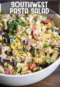 his southwest pasta salad is full of cold pasta, grilled chicken, and veggies, all coated in a delicious chipotle ranch dressing. It's a perfect side dish for a summer bbq or potluck, or for a lighter lunch or dinner anytime. Cold Pasta Recipes, Cold Pasta Dishes, Summer Pasta Dishes, Chicken Pasta Salad Recipes, Pasta Side Dishes, Healthy Pasta Salad, Best Pasta Salad, Summer Pasta Salad, Side Dishes For Bbq