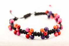 Beaded Macrame Bracelet Little flowers Waxed cotton cord bracelet Happy jewelry Pink and purple Summer Hemp Hippie fashion orchid Beach