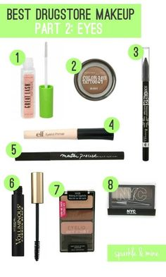 The Best Drugstore Makeup Ever! (Part 2: Eyes) This is super helpful for all the girls out that that always feel overwhelmed in the drugstore cosmetics aisle!