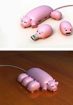 Pig memory stick usb hub, cute and creative...I guess I'd have to put piggy names on the back tho.