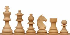 """Unfinished German Knight Staunton Chess Set in Boxwood - 2.75"""" King - The Chess Store"""