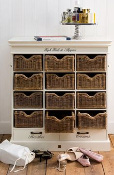 Shoe drawers with wicker baskets