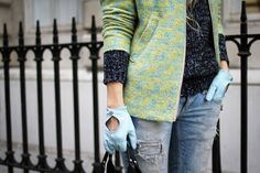 Those grungy blue leather gloves