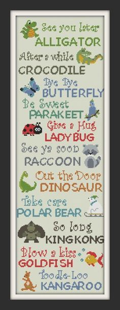 cross stitch sampler see you later alligator animal by Happinesst