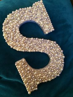 Wooden letter S with white and gray pearls, Swarovski crystals, monogram wall art, baby room, weddin. Home Wooden Letters Mermaid Nursery, Mermaid Room, Girl Nursery, Diy Letters, Letter A Crafts, Pearl Letters, Decorate Wooden Letters, Letters Decoration, Wooden Monogram Letters