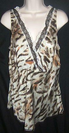 Lane Bryant 100% Silk Animal Leopard Print Lace Tank Plus Size 14