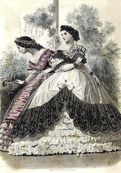 Les modes parisiennes, January 1862. Historic fashion