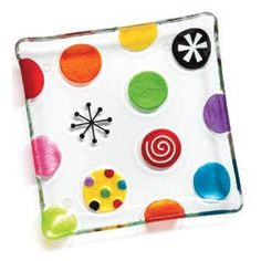 Glass Fused Dots Snack Plate - So cute!