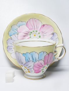 Tuscan Tea Cup and Saucer Pastel Flowers Vintage