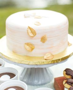 single layer gold leaf wedding cake | Mike Larson| blog.theknot.com
