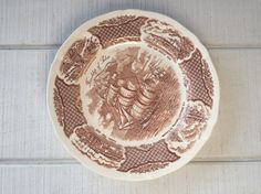 Vintage Brown Transferware dinner Plates Fairwinds Meakin England dinner plates vintage brown / white plates ironstone transfer ware plates by White Plates, Dinner Plates, Decorative Plates, White China, Brown, Tableware, Handmade, England, Stuff To Buy