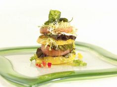 Tomato stack with frisee, bell pappers and lemon dressing - Holland America cruise line recipes