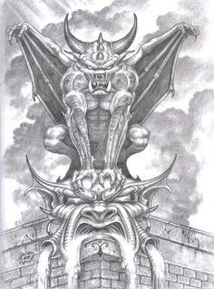 Gargoyle. Sketch in pencil.