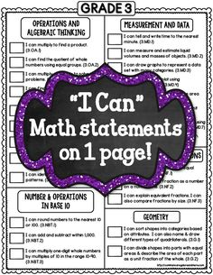 "Grade Common Core 1 PAGE Math Checklists (Standards and ""I Can"" Statements) Fifth Grade Math, Fourth Grade, Grade 3, Teaching Math, Teaching Ideas, Maths, Math Math, Teaching Posts, Multiplication Games"