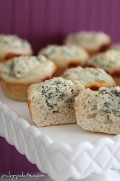 Double and make in Deluxe Mini Muffin Pan Baked Spinach Dip Mini Bread Bowls - Picky Palate