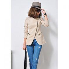 Slimming Sloping Zipper Shrug Lapel Long Sleeved Women's Blazer