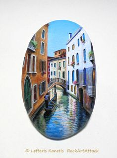 Landscape Painted on Stone With Gondola on Canal by RockArtAttack. https://www.facebook.com/L.kanetis.paintedstones