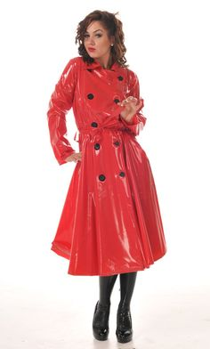 Scrumptious red latex trench - would love to be out in the rain in that outfit