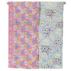 One-of-a-kind Kantha Quilt - Blue & Pink Floral