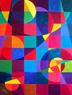 ARTFINDER: Geometric Patchwork by Stephen Conroy - Blocks of pure, iridescent colour broken up by geometric patterns.  Painted in high quality acrylics. A painting that comes ready to hang, varnished and side...