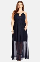 City Chic 'Sweet Affair' Pleat Back Chiffon Skirt Maxi Dress (Plus Size)
