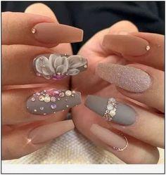 20 Elegant Look Bridal Nail Art Ideas You'll Love # Bridal Nails nail art - Silvesternägel - Nageldesign Cute Summer Nail Designs, Elegant Nail Designs, Elegant Nails, Stylish Nails, Summer Design, Cute Acrylic Nails, Acrylic Nail Designs, Cute Nails, Pretty Nails