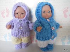 Knit Pattern Download Winter Hoodie Set for 5 inch Chubby Berenguer Baby Dolls snow pants and boots