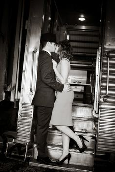 Vintage train engagement session at the Gold Coast Railroad Museum by PS Photography