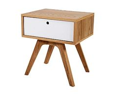Table d'appoint JARI bois, naturel et blanc - L50