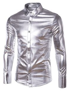 JOGAL Men's Trend Nightclub Styles Metallic Silver Button Down Shirts at Amazon Men's Clothing store: