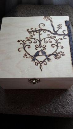 Wood burned wedding gift box