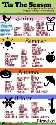 Here's a handy cheat sheet for knowing when fruits and vegetables are in season for your home garden.