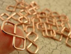 HOLIDAY Half Price Sale 3 Handmade Copper Double Diamond Figure Eight Catch Rings. $5.00, via Etsy.
