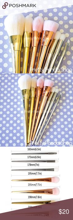 7 quality bold metals brush set New high quality  Set of 7 make up brushes  Beautiful metal colors and soft bristles  Comes with 101 triangle foundation brush 100 arched powder brush 300 tapered blush brush 301 flat contour brush 200 oval shadow brush 201 pointed crease brush 202 angled liner brush  Great value, great quality :) Makeup Brushes & Tools