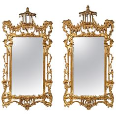 Matched Pair of Chinese Chippendale Style Mirrors | 1stdibs.com #drdmirrors gold